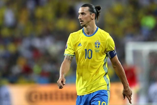 Sweden's forward Zlatan Ibrahimovic looks on during the Euro 2016 group E football match against Belgium at the Allianz Riviera stadium in Nice on June 22, 2016