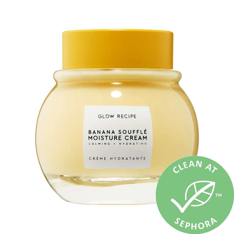 """<h3>Glow Recipe Banana Soufflé Moisture Cream<br></h3><br>A scoop of this lightweight moisturizer is almost as decadent as an actual banana soufflé — except this one makes your skin look better. In the good-enough-to-eat recipe, you'll also find magnesium and cica to calm and rebalance stressed-out skin.<br><br><strong>Glow Recipe</strong> Banana Soufflé Moisture Cream , $, available at <a href=""""https://go.skimresources.com/?id=30283X879131&url=https%3A%2F%2Fwww.sephora.com%2Fproduct%2Fglow-recipe-banana-souffle-moisture-cream-P453223"""" rel=""""nofollow noopener"""" target=""""_blank"""" data-ylk=""""slk:Sephora"""" class=""""link rapid-noclick-resp"""">Sephora</a>"""