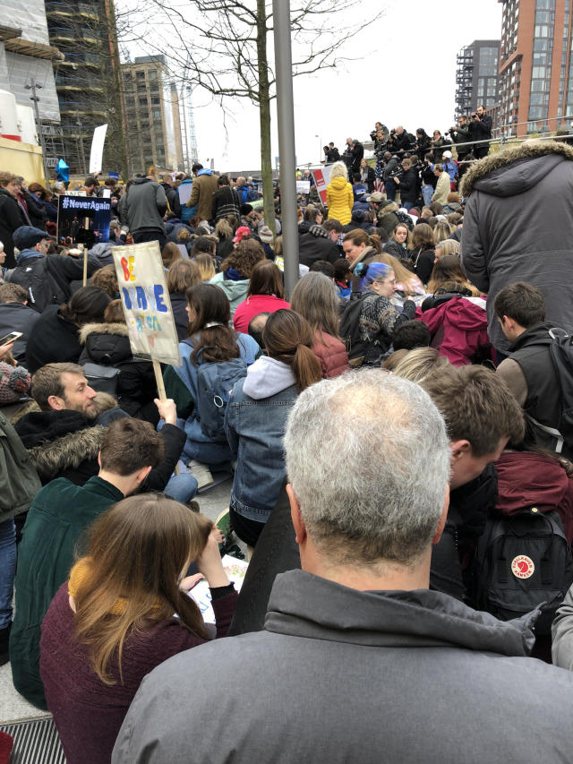 "<p>A crowd in London crouches down for a three-minute ""die-in.""<br> (Photo: Erin Donnelly for Yahoo Lifestyle) </p>"