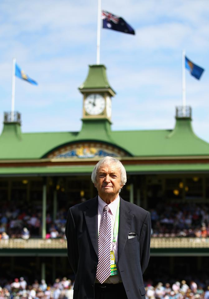 SYDNEY, AUSTRALIA - JANUARY 03:  Richie Benaud, former Australian Captain and current Channel 9 commentator, looks on during day one of the Third Test match between Australia and Sri Lanka at Sydney Cricket Ground on January 3, 2013 in Sydney, Australia.  (Photo by Ryan Pierse/Getty Images)