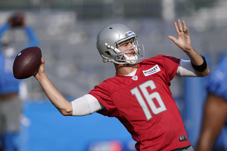 Detroit Lions quarterback Jared Goff throws during drills at the Lions NFL football camp practice, Wednesday, July 28, 2021, in Allen Park, Mich. (AP Photo/Carlos Osorio)