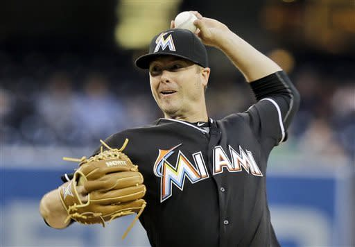 Miami Marlins starting pitcher Wade LeBlanc throws against the San Diego Padres in then first inning of a baseball game in San Diego, Monday, May 6, 2013. (AP Photo/Lenny Ignelzi)