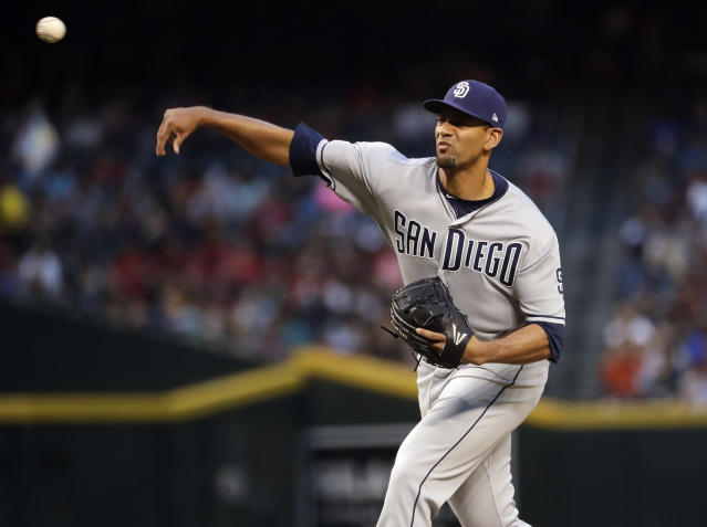 San Diego Padres starting pitcher Tyson Ross came up four outs short of throwing the Padres first-ever no-hitter. (AP)