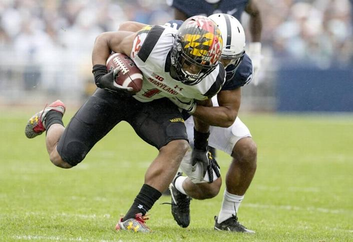Maryland wide receiver D.J. Moore was the first wide receiver off the board in the NFL draft, to the Carolina Panthers at No. 24.