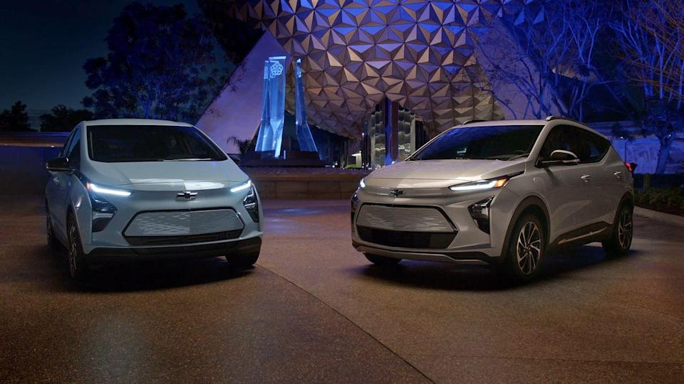 """<p><strong>GM</strong> released the all-new <a href=""""https://www.caranddriver.com/chevrolet/bolt-euv"""" rel=""""nofollow noopener"""" target=""""_blank"""" data-ylk=""""slk:2022 Chevrolet Bolt EUV"""" class=""""link rapid-noclick-resp"""">2022 Chevrolet Bolt EUV</a> and revised <a href=""""https://www.caranddriver.com/chevrolet/bolt-ev"""" rel=""""nofollow noopener"""" target=""""_blank"""" data-ylk=""""slk:Bolt EV"""" class=""""link rapid-noclick-resp"""">Bolt EV</a> (pictured at left) on Feb. 14. <a href=""""https://www.caranddriver.com/news/a34905254/gmc-hummer-ev-prototype-testing/"""" rel=""""nofollow noopener"""" target=""""_blank"""" data-ylk=""""slk:GMC Hummer EV"""" class=""""link rapid-noclick-resp"""">GMC Hummer EV</a> production starts this fall.</p><p>Sometime this year <strong>BMW</strong> will show the first all-electric M badge car, perhaps an M-sport version of the electric i4 sedan. </p><p><strong>Stellantis</strong> plans to launch 10 hybrid or electric models across its brands (including a plug-in Wrangler) by the end of the year. </p><p><strong>Jaguar Land Rover</strong> says it will begin testing a hydrogen fuel-cell prototype sometime in 2021 or early 2022. </p>"""