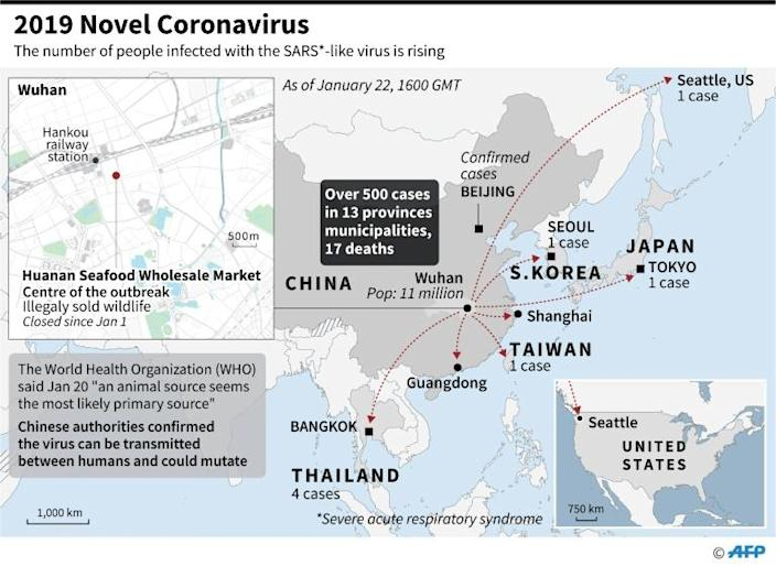 Regional map including China, Japan, Thailand, South Korea, and Wuhan Seafood Market, identified as the centre of an outbreak of a SARS-like virus. (AFP Photo/Gal ROMA)