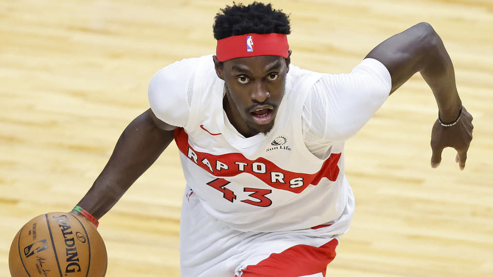 Pascal Siakam's name will be in the news a lot heading into Thursday's NBA Draft.  (Photo by Michael Reaves/Getty Images)