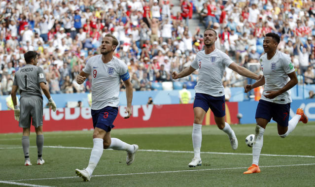 <p>England's Harry Kane, second from left, celebrates with his teammates Harry Kane, second from right, and Jesse Lingard </p>