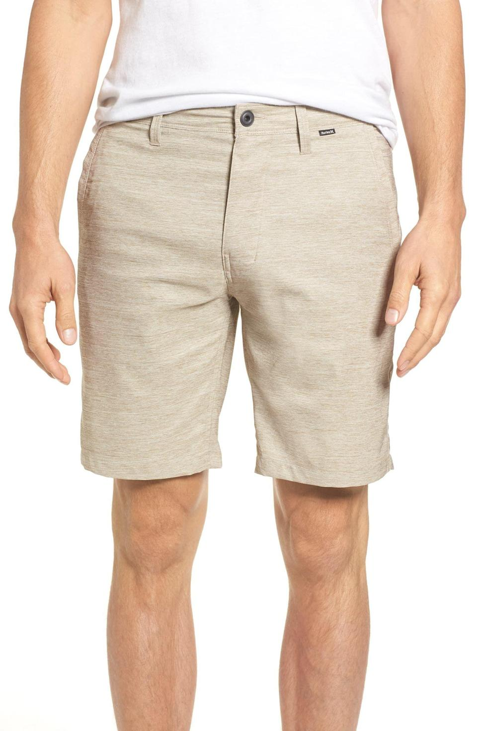 """<p><strong>HURLEY</strong></p><p>nordstrom.com</p><p><strong>$60.00</strong></p><p><a href=""""https://go.redirectingat.com?id=74968X1596630&url=https%3A%2F%2Fshop.nordstrom.com%2Fs%2Fhurley-dri-fit-shorts%2F4736932&sref=https%3A%2F%2Fwww.goodhousekeeping.com%2Fholidays%2Fgift-ideas%2Fg20685099%2Fgolf-gifts%2F"""" rel=""""nofollow noopener"""" target=""""_blank"""" data-ylk=""""slk:Shop Now"""" class=""""link rapid-noclick-resp"""">Shop Now</a></p><p>It gets hot on the golf course, but these classic-style trousers are moisture wicking and stretchy, keeping him cool while he plays.</p>"""