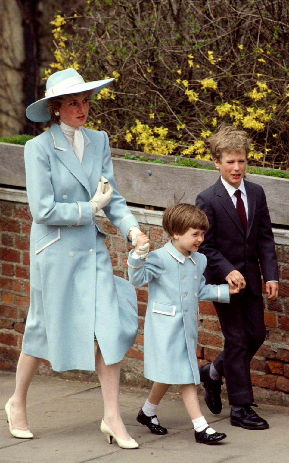 Diana, William and Peter Phillips at Easter in 1987 - Tim Graham