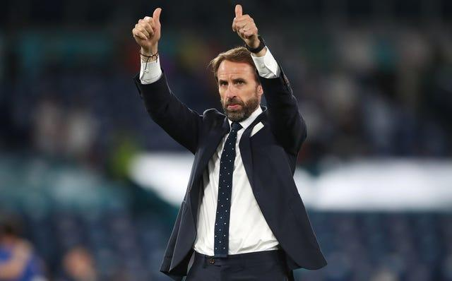 England manager Gareth Southgate salutes the fans at full-time