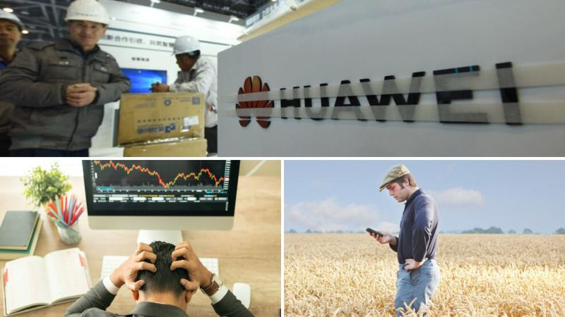 Telco workers with Huawei equipment on the top, a farmer checking his mobile phone on the bottom right, and a man frustrated in front of a computer showing a downward graph.