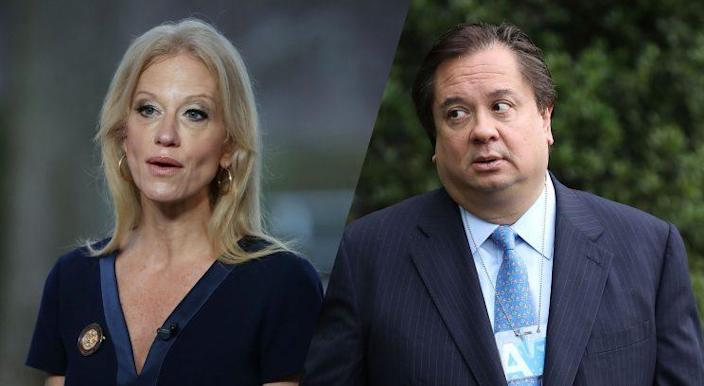 Kellyanne Conway and her husband, George Conway. (Photos: Mark Wilson/Getty Images, Chip Somodevilla/Getty Images)