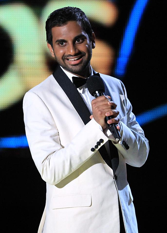 """Host <a href=""""http://movies.yahoo.com/movie/contributor/1809772456"""">Aziz Ansari</a> onstage at the 2010 MTV Movie Awards at Gibson Amphitheatre on June 6, 2010 in Universal City, California."""