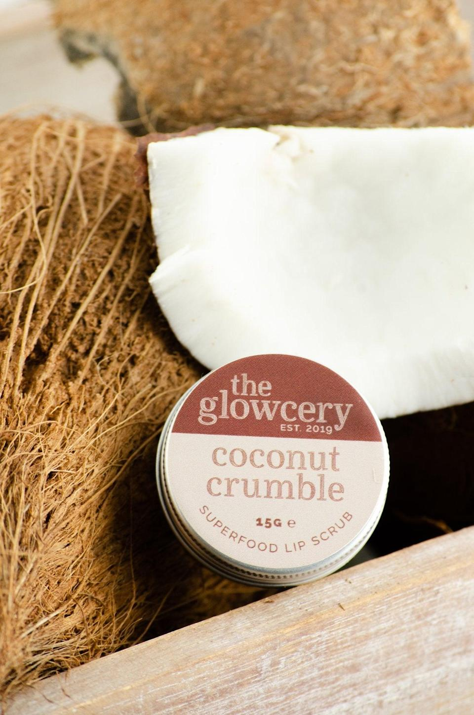 """<h2>The Glowcery Coconut Crumble Superfood Natural Lip Scrub</h2><br><br>Raw coconut oil, sugar, and vegan fruit wax are the secret ingredients in this Coconut Crumble canister, which is like dessert for dry lips. <br><br><br><strong>The Glowcery</strong> Coconut Crumble - Superfood Natural Lip Scrub, $, available at <a href=""""https://go.skimresources.com/?id=30283X879131&url=https%3A%2F%2Fwww.theglowceryshop.com%2Fproducts%2Fcoconut-crumble-natural-superfood-lip-scrub"""" rel=""""nofollow noopener"""" target=""""_blank"""" data-ylk=""""slk:The Glowcery"""" class=""""link rapid-noclick-resp"""">The Glowcery</a>"""