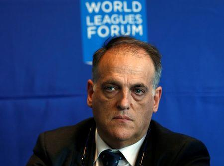 Spain's professional football league president Javier Tebas, listens during a news conference attending the World Leagues Forum in Mexico City