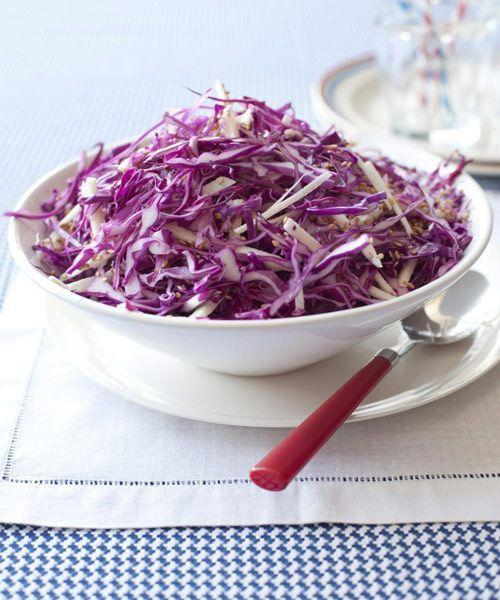"""<p>Cabbage can be sliced the day before, and the dressing can be made up to three days ahead. Which means more time for you to party.</p><p><a href=""""https://www.goodhousekeeping.com/food-recipes/a10083/red-cabbage-jicama-slaw-recipe-ghk0710/"""" rel=""""nofollow noopener"""" target=""""_blank"""" data-ylk=""""slk:Get the recipe for Red Cabbage and Jicama Slaw »"""" class=""""link rapid-noclick-resp""""><em>Get the recipe for Red Cabbage and Jicama Slaw »</em></a></p>"""