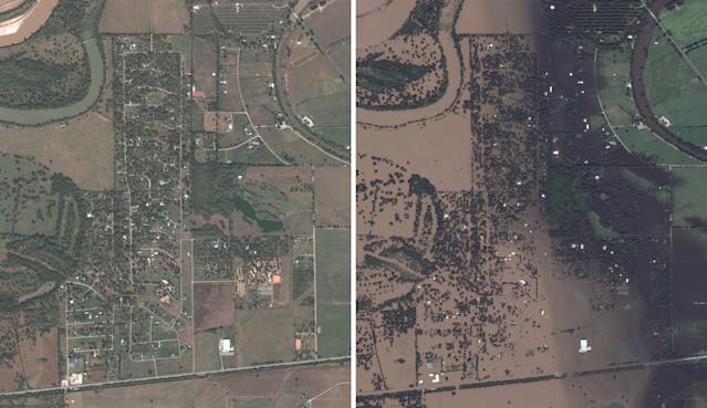 "Left is a ""before"" DigitalGlobe satellite image taken on November 20, 2016 of a neighborhood in Simonton, Texas, and on the right taken on August 30, 2017 after Hurricane Harvey. (Photos: DigitalGlobe via Getty Images)"