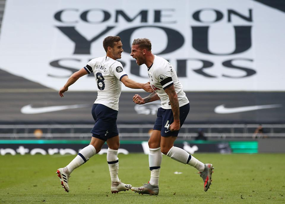 Toby Alderweireld (right) scored the winning goal for Tottenham against Arsenal on Sunday. But what is either club really playing for? (Photo by TIM GOODE/POOL/AFP via Getty Images)
