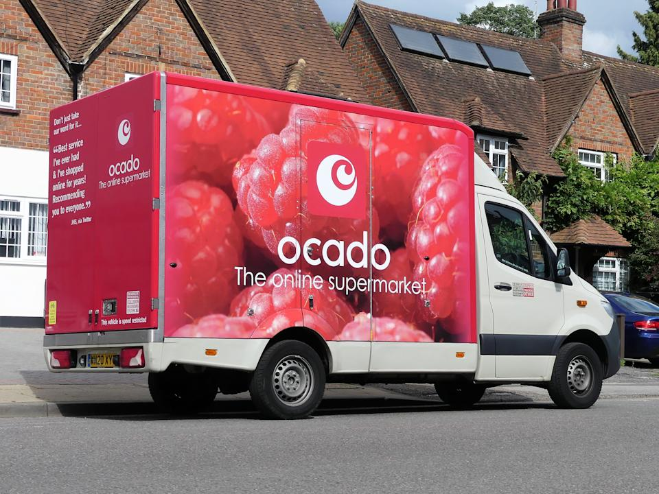 Chorleywood, Hertfordshire, England, UK - July 2nd 2020: Ocado home delivery van supplying groceries during the Coronavirus (COVID-19) pandemic