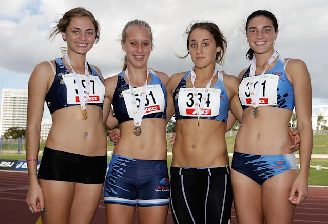 SYDNEY, AUSTRALIA - MARCH 12: (L-R) Ella Nelson, Rebecca Watts, Karlie Morton and Michelle Jenneke of NSW pose after winning the Girls 4x100 metre Relay Under 18 during day two of the 2010 Australian Junior Championships at Sydney Olympic Park Sports Centre on March 12, 2010 in Sydney, Australia. (Photo by Brendon Thorne/Getty Images)