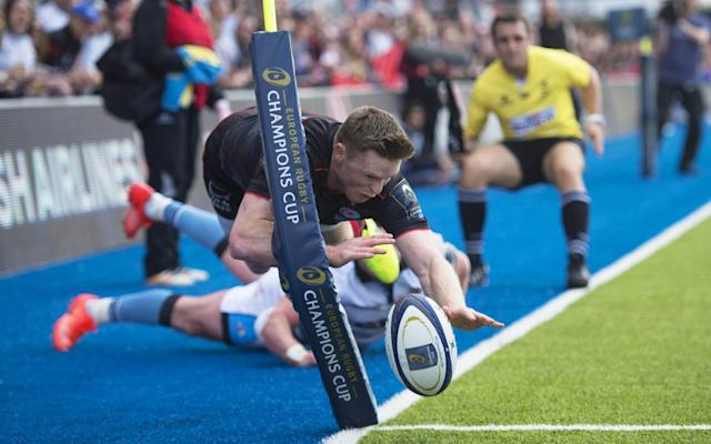<span>Chris Ashton has a try disallowed</span> <span>Credit: REX FEATURES </span>
