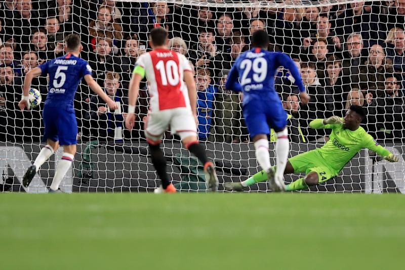 LONDON, ENGLAND - NOVEMBER 05: Jorginho of Chelsea scores their 3rd goal from the penalty spot during the UEFA Champions League group H match between Chelsea FC and AFC Ajax at Stamford Bridge on November 5, 2019 in London, United Kingdom. (Photo by Marc Atkins/Getty Images)
