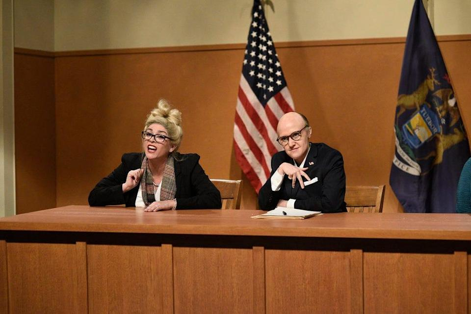 "Cecily Strong as witness Melissa Carone and Kate McKinnon as Rudy Giuliani during ""Saturday Night Live""s ""Michigan Hearings"" cold open on December 5, 2020."