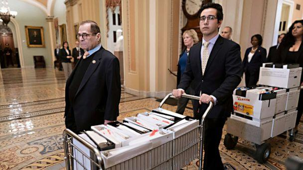 PHOTO: House Democratic impeachment manager and House Judiciary Committee Chairman Jerrold Nadler arrives at the Senate with carts of documents as work resumes in President Donald Trump's impeachment trial at the Capitol in Washington, Jan. 25, 2020. (J. Scott Applewhite/AP)