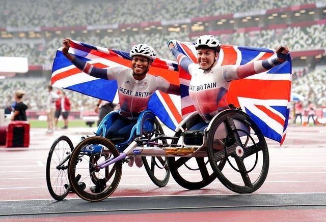 Great Britain's Hannah Cockroft, right, and Kare Adenegan were once again on the Paralympic podium together