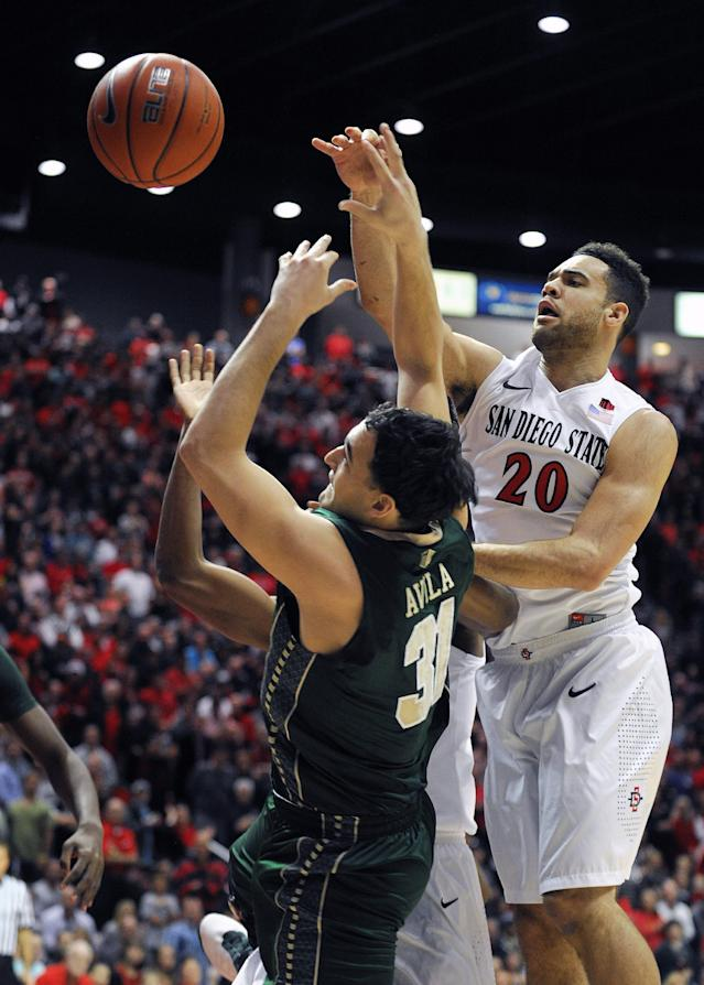 San Diego State's JJ O'Brien (20) fights for a rebound with Colorado State's J.J. Avila (31!) during the first half of an NCAA college basketball game on Saturday, Feb. 1, 2014, in San Diego. (AP Photo/Denis Poroy)