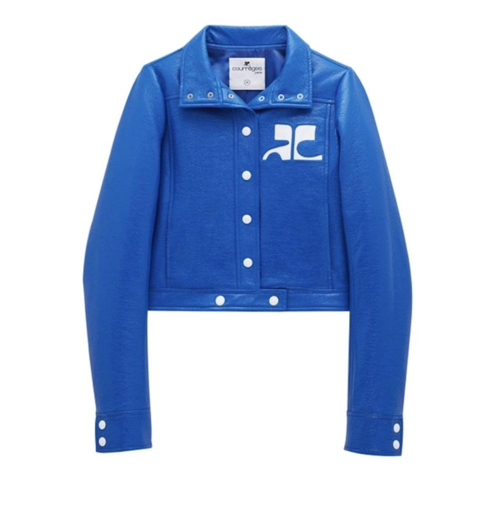 """<p><strong>Courrèges</strong></p><p>TheWebster.com</p><p><strong>$1050.00</strong></p><p><a href=""""https://go.redirectingat.com?id=74968X1596630&url=https%3A%2F%2Fthewebster.us%2Fshop%2Freedition-vinyl-jacket-blue.html%3FglCountry%3DUS%26glCurrency%3DUSD%26gclid%3DEAIaIQobChMIwq6g7vTH8gIVkbfICh25GQvTEAQYAiABEgJCu_D_BwE%26gclsrc%3Daw.ds&sref=https%3A%2F%2Fwww.redbookmag.com%2Ffashion%2Fg37609231%2F60s-fashion-trends%2F"""" rel=""""nofollow noopener"""" target=""""_blank"""" data-ylk=""""slk:Shop Now"""" class=""""link rapid-noclick-resp"""">Shop Now</a></p><p>Popular in the '60s, Courrèges reissued its signature vinyl jacket for the next generation. </p>"""