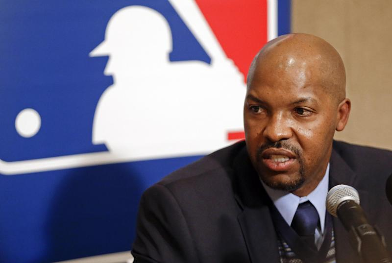 FILE - In this Dec. 4, 2012, file photo, Houston Astros manager Bo Porter answers questions during a news conference at the baseball winter meetings in Nashville, Tenn. The Astros have a grand total of five players with more than two years of major league experience, a first-year manager and a move to the American League to deal with, too. So how come they are so optimistic they can avoid becoming the first team in a half-century to lose 106 games in three consecutive seasons? (AP Photo/Mark Humphrey, File)