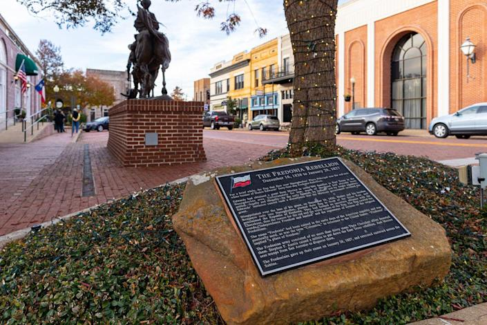 """<p><strong>Established in:</strong> 1779</p><p>One of the most <a href=""""https://www.visitnacogdoches.org/about/history/"""" rel=""""nofollow noopener"""" target=""""_blank"""" data-ylk=""""slk:popular tourist destinations"""" class=""""link rapid-noclick-resp"""">popular tourist destinations</a> in the state, Nacogdoches has a rich history. One legend says that the Caddo Nation founded Nacogdoches. In 1700, the Spanish began establishing missions in and around the area, and the region was eventually ceded to Spain. In 1779, Gil Y'Barbo came to Nacogdoches and established a local government. </p>"""