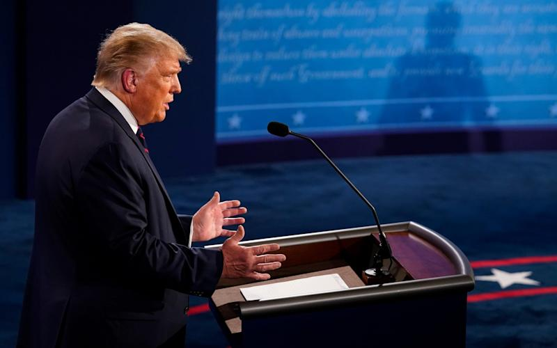 President Donald Trump speaks during the first presidential debate against former Vice President and Democratic presidential nominee Joe Biden at the Health Education Campus of Case Western Reserve University on September 29, 2020 in Cleveland, Ohio. This is the first of three planned debates between the two candidates in the lead up to the election on November 3 - GETTY IMAGES