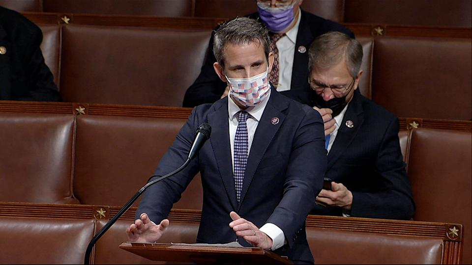 <p>Rep Adam Kinzinger says he warned House Republicans about potential violence, but was dismissed by Leader Kevin McCarthy</p> (AP)
