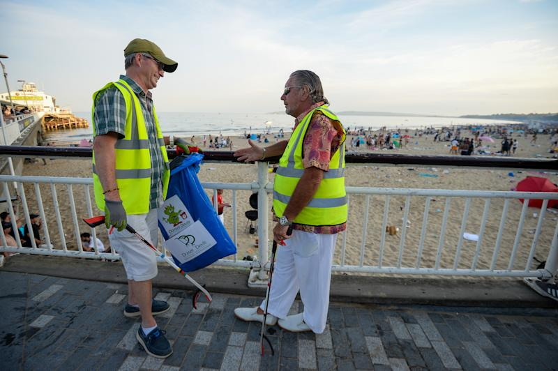 Local beach cleaning volunteers had their work cut out dealing with the huge amounts of litter left during the heatwave. (Getty)