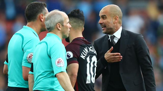 Arsenal were fortunate not to concede a penalty during injury time in their 2-2 draw with Manchester City, Pep Guardiola has said.