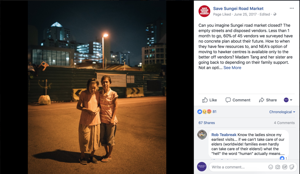 Chan and her elder sister Tang Soon Heng at the former Sungei Road market. (SCREENCAP: Save Sungei Road Market/Facebook)