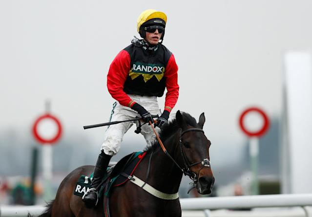 Horse Racing - Grand National Festival - Aintree Racecourse, Liverpool, Britain - April 13, 2018 Harry Cobden celebrates on Ultragold after winning the 16:05 Randox Health Topham Handicap Chase Action Images via Reuters/Jason Cairnduff
