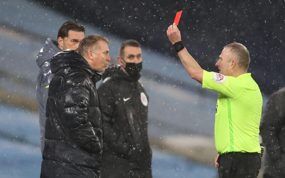 Aston Villa manager Dean Smith was sent off for remonstrating with officials about the goal in the match against Manchester City - Clive Brunskill/AFp
