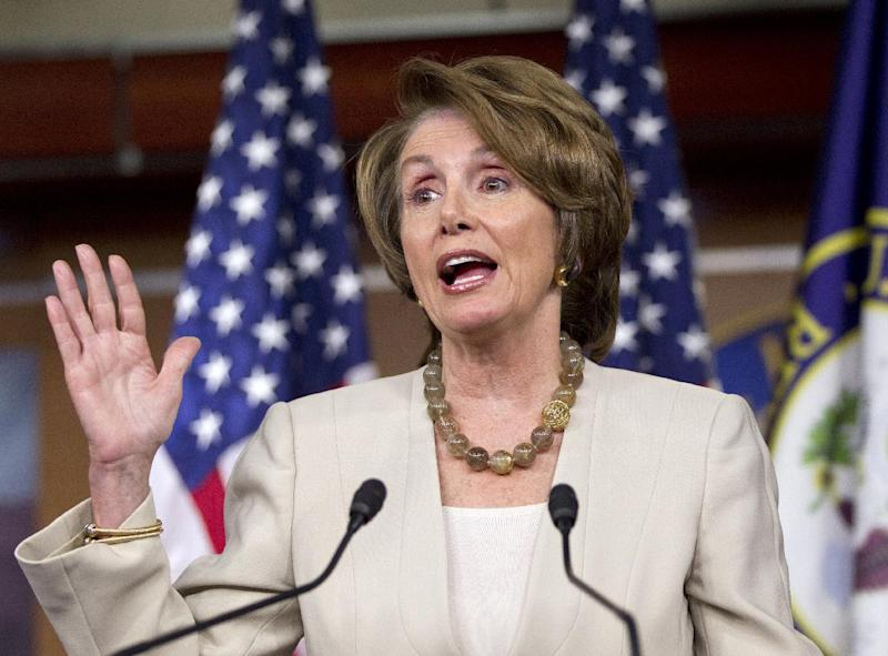 House Minority Leader Nancy Pelosi of Calif. gestures during her weekly news conference on Capitol Hill in Washington, Thursday, May 17, 2012. (AP Photo/J. Scott Applewhite)