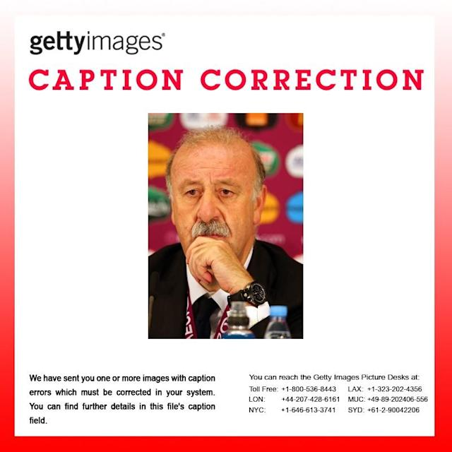The caption in the following images should read 'Vincente Del Bosque of Spain' 147538023, 147538046, 147538034, 147538032, 147538028, 147538014, 147538016, 147538007, 147538006 KIEV, UKRAINE - JULY 01: In this handout image provided by UEFA, Coach Vincente Del Bosque of Spain talks to the media after the UEFA EURO 2012 Final match between Spain and Italy at the Olympic Stadium on July 1, 2012 in Kiev, Ukraine. (Photo by Handout/UEFA via Getty Images)