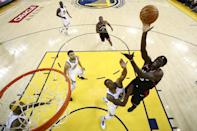 Pascal Siakam #43 of the Toronto Raptors attempts a shot against Andre Iguodala #9 of the Golden State Warriors in the first half during Game Three of the 2019 NBA Finals at ORACLE Arena on June 05, 2019 in Oakland, California. (Photo by Ezra Shaw/Getty Images)