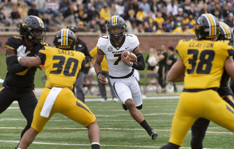 Missouri quarterback Kelly Bryant runs the ball during their NCAA college football intra-squad spring game Saturday, April 13, 2019, in Columbia, Mo. (AP Photo/L.G. Patterson)