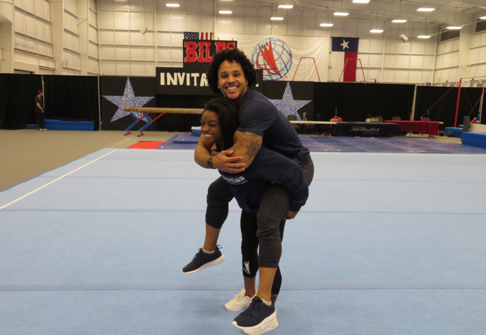"""<p>The 20-year-old Olympic gold medalist chose another gymnast for her first boyfriend. She told <em>People</em> that she and Ervin, 24, <a rel=""""nofollow noopener"""" href=""""http://people.com/sports/simone-biles-gets-real-stacey-ervin-relationship/"""" target=""""_blank"""" data-ylk=""""slk:met at a gymnastics meet"""" class=""""link rapid-noclick-resp"""">met at a gymnastics meet</a> three years before they began dating in 2017, after her grandmother hired him to work at her gym. They now train — and joke around — at that same gym in Spring, Texas, outside Houston. """"Always a good time with this goof,"""" she captioned this snapshot. (Photo: <a rel=""""nofollow noopener"""" href=""""https://www.instagram.com/p/BfwHLeinK5z/?hl=en&taken-by=simonebiles"""" target=""""_blank"""" data-ylk=""""slk:Simone Biles via Instagram"""" class=""""link rapid-noclick-resp"""">Simone Biles via Instagram</a>) </p>"""