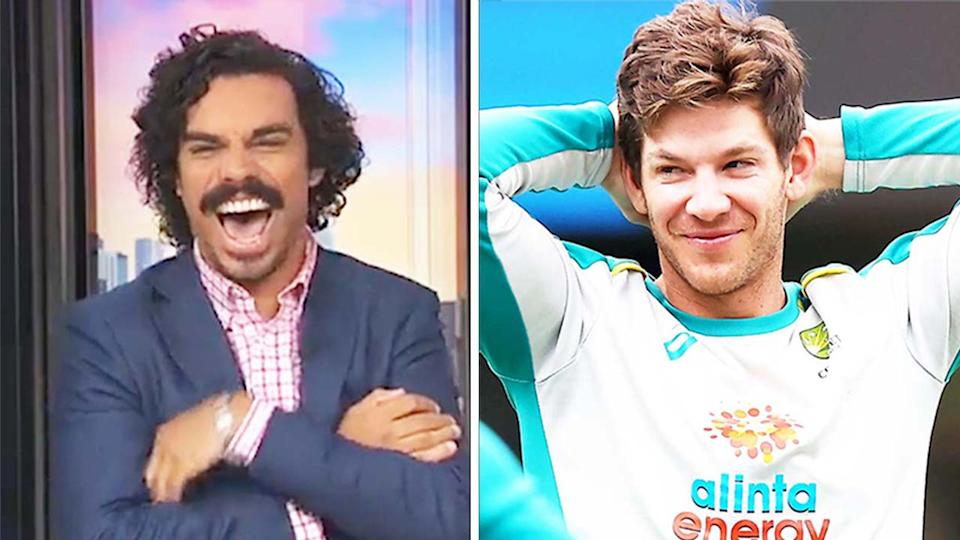 Aussie cricket captain Tim Paine (pictured right) smiling during training and (pictured left) ABC News' Tony Armstrong having a laugh.