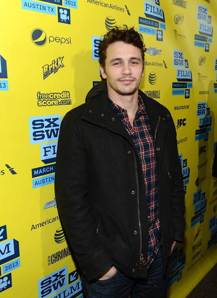 "AUSTIN, TX - MARCH 10:  Actor James Franco arrives at the premiere of ""Spring Breakers"" during the 2013 SXSW Music, Film + Interactive Festival at Paramount Theatre on March 10, 2013 in Austin, Texas.  (Photo by Michael Buckner/Getty Images for SXSW)"