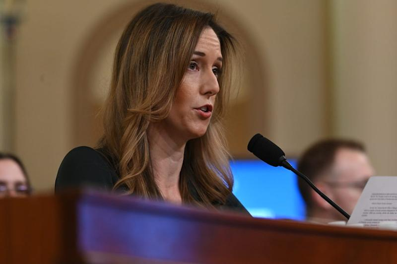 Jennifer Williams, a foreign policy aide to Vice President Mike Pence, delivers opening remarks as she testifies on Nov. 19, 2019 before the Permanent Select Committee on Intelligence.