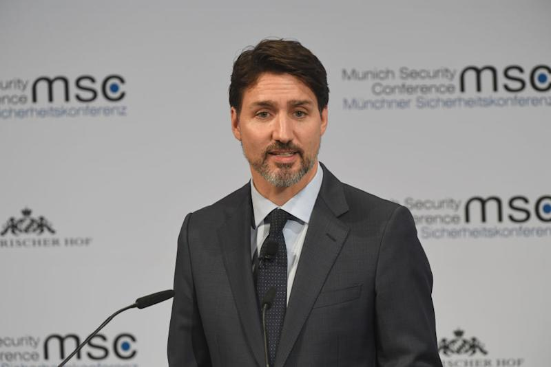 14 February 2020, Bavaria, Munich: Justin Trudeau, Prime Minister of Canada, speaks on the first day of the 56th Munich Security Conference. Photo: Felix Hörhager/dpa (Photo by Felix Hörhager/picture alliance via Getty Images)